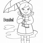 Girl with umbrella - name coloring page